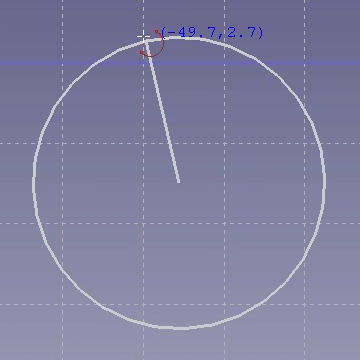 The center has been selected, dragging to set the radius‎