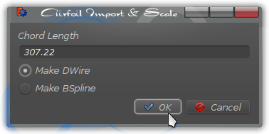 Version 2 Airfoil Import and scale dialog with choice of DWire or BSpline