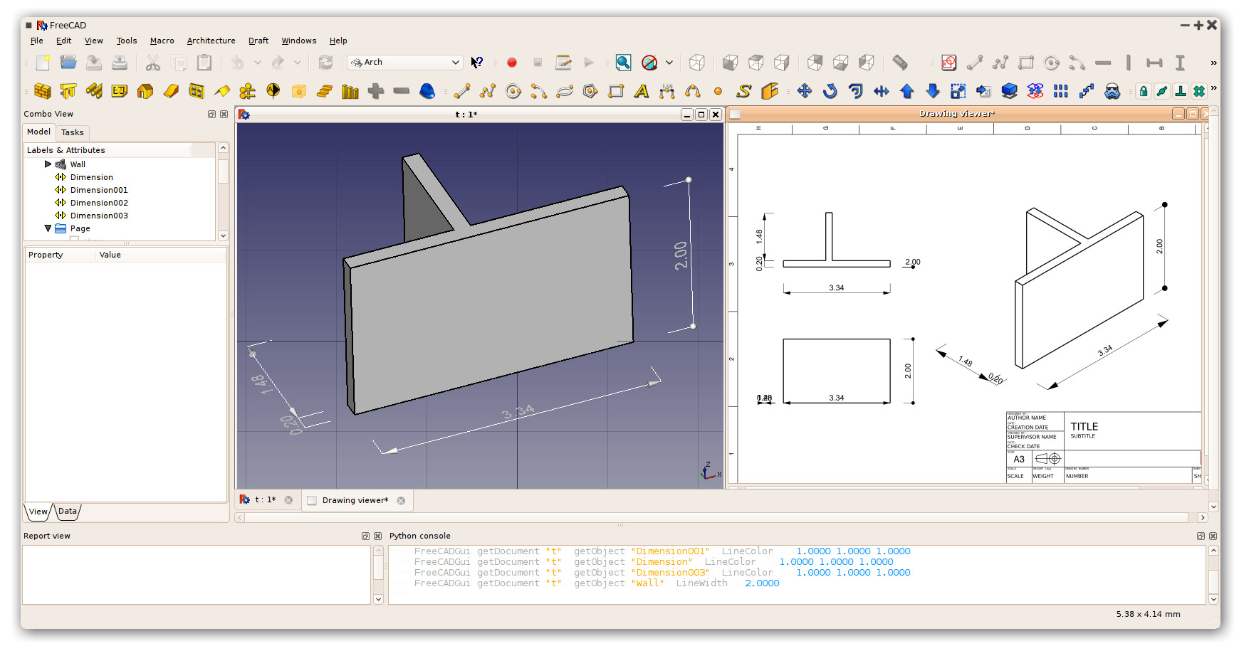 how to create text indent in freecad