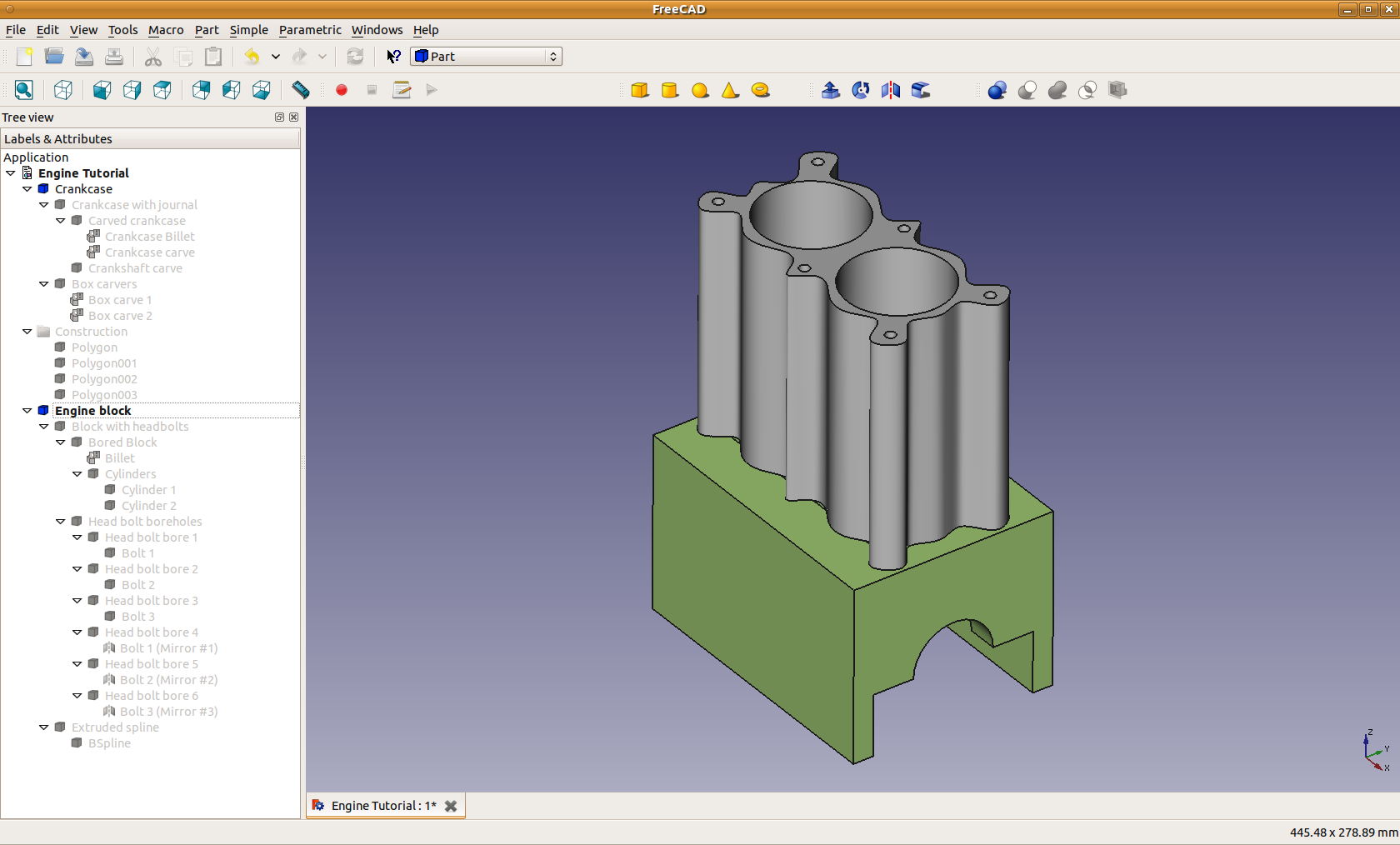 Fileengine Block Tutorial Finished Engine Freecad D