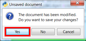 A warning window appears asking for confirmation of save code